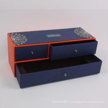 Boîte adaptée aux besoins du client de tiroir de boîte-cadeau de bijoux de rectangle de luxe