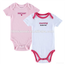 New Born Baby Toddlers Clothing Organic Cotton Plain Pink and White Baby Romper