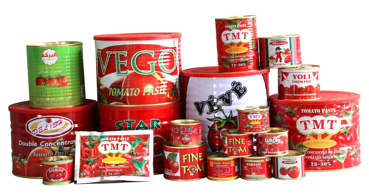 different tins tomato paste