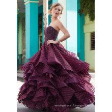 Purple Beading Strapless Ballgown Prom Dress (42137)