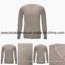 Suéter de cachemira pura con cuello en V 100% de estilo básico para hombre