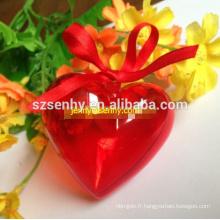 Boule en plastique de Noël en forme de coeur avec ouverture