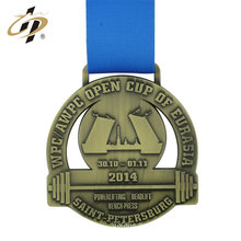 Antique gold hollow custom sport metal powerlifting medal with ribbon