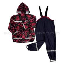Flower Hooded Reflective PU Rain Jacket/Raincoat