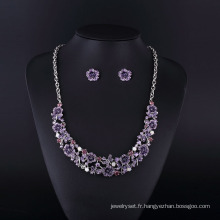 2016 violet fleur strass rhodium placage collier bijoux ensemble