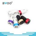 Cargador de coche USB dual de colores mezclados de venta caliente