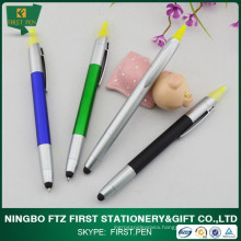 Fancy Plastic Stylus Touch Pen with Highlighter