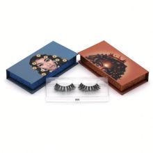 808T Hitomi Private Label Eyelashes Box Handmade Mink Eyelash Strips Clear Band Luxury Real Fluffy 3D Mink Eyelashes