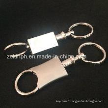 Porte-clés de gravure de souvenir laser blanc