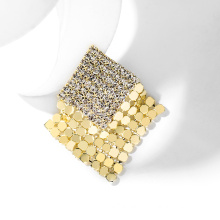Square Shaped Gold Plated Brooch For Women
