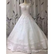 2017 Princesa Vestido de noiva com pérolas de pérolas sem mangas