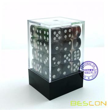 Bescon 12mm 6 Sided Dice 36 in Brick Box, 12mm Six Sided Die (36) Block of Dice, Translucent Lime Green with White Pips