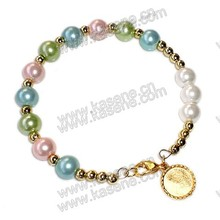 Cheap Gold Glass Rosary Bracelet on Elastic