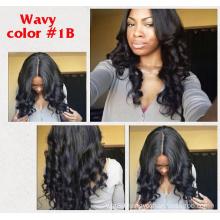 Stock body wave brazilian human hair glueless silk top lace front wig