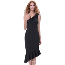 Grace Karin Sexy Women's Asymmetric One Shoulder Hips-Wrapped Bodycon Pencil Mermaid Dress GK001066-1