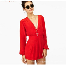 OEM Latest Women Red Lady Chiffon Jumpsuit Long Sleeve Ladies Romper