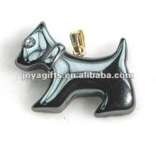 Hematite cão pingentes com diamante e ouro encontrar