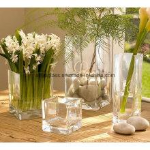 Квадратное прозрачное украшение стеклянная ваза для цветов