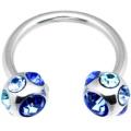 14 Gauge Blue 7 Gem Horseshoe Circular Barbell