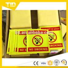 Sinal de aviso reflexivo de custódia não fumar / sinal de perigo