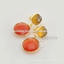 925 Стерлингового Серебра Позолоченная Позолоченные Серьги, Оптовая Серебра Безель Серьги