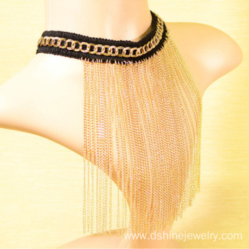 Gold Plated Crochet Choker Chain Long Fringe Collar Necklace