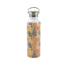 Easy portable thermal vacuum flask bamboo cap thermos bottle with handle