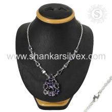 Joyería De Plata De Amethyst Collar De Plata De Ley Hecho A Mano Jaipur Silver Jewelry Manufacturing
