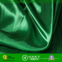 Tela de satén suave de la mano del poliéster del color verde para la ropa de la moda