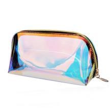 Portable travel waterproof laser color tpu iridescent cosmetic brush carrying bag