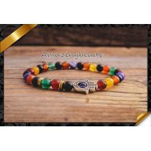 Браслет ювелирных изделий способа шарика радуги цветастой каменный для женщины самеца (CB049)