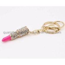Corrente de cristal do anel chave do keyring do batom do cristal da forma do metal do OEM