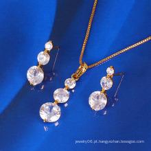 Xuping banhado a ouro conjunto de jóias de zircão moda