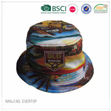 Full reversibile stampa poliestere Bucket Hat