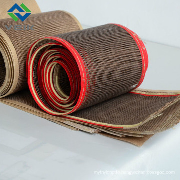 Teflon mesh fibergalss fabric and belt 4*4 mm brown color from China