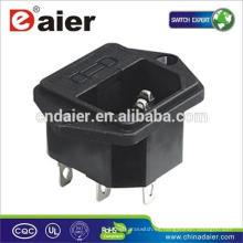 Enchufe eléctrico del zócalo del zócalo del enchufe de 3 clavijas con el fusible