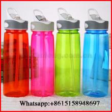 Copo plástico do espaço da cor pura portátil da garrafa de água da palha do estudante para a propaganda 750ml