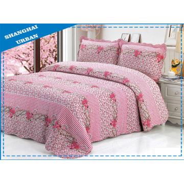 Edredón y colcha de cama de algodón de 3 piezas