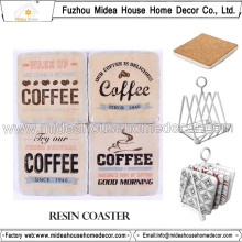 Atacado Resina Custom Coasters e Coaster Café para Home Decor