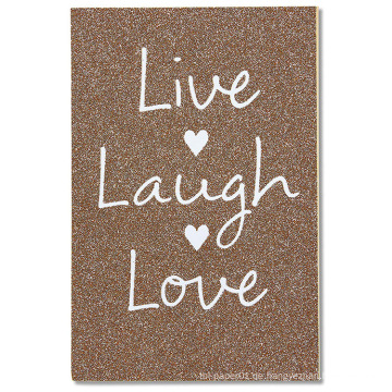 Amerikanische Grüße Live Laugh Love Hochzeitskarte mit Glitzer