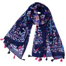 Premium cheap voile fabric china guangzhou retro printing scarf shawl
