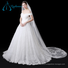 Lace Appliques Sequined Beading Pearls Veil Wedding Bridal Long