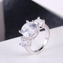 Anéis de pedra de zircão branco venda quente acessórios de casamento por atacado