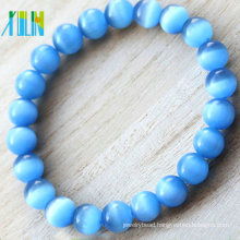 high quality blue fancy round shape glass cat eye gemstone bracelet