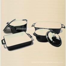 4PCS Cast Iron Cookware Set in Black Color