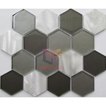 Big Size Hexagon Glass Mix Aluminium Decoration Mosaic (CFA81)