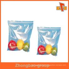 OEM Accept food grade transparent zipper bag for fruits,vagetables packaging