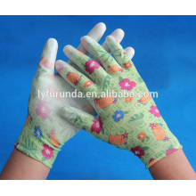 Gants de jardin recouverts de gants de polyester pu palm, anti-cut, anti-statique