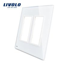 Livolo Белый 125мм * 125мм Стандарт США Двойная стеклянная панель для продажи Для настенных розеток Стандартные размеры VL-C5-SR / SR-11