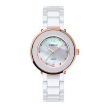 Damen Shell Pearl Zifferblatt Weiß Keramikband Kleid Armbanduhren